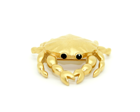 1970-80's D'Orlan matt gold Crab brooch