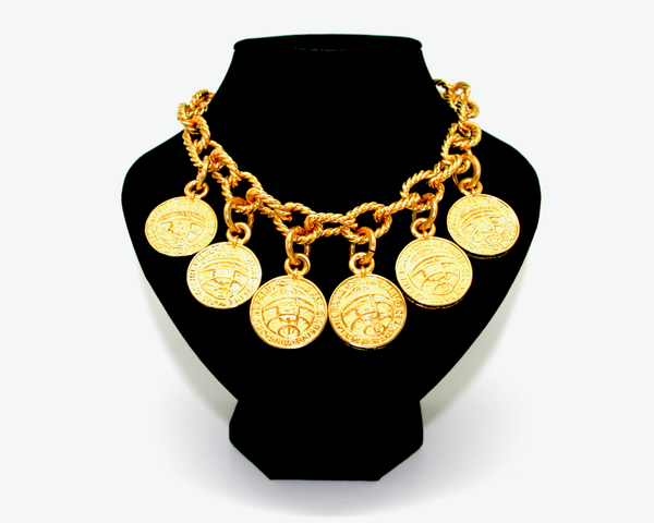 1991 CELINE coin charms gold necklace