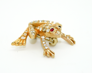 1960's JOMAZ rhinestone frog brooch with red eyes