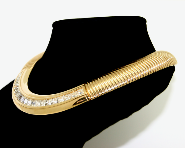 1980's GIVENCHY gold and crystal omega collar