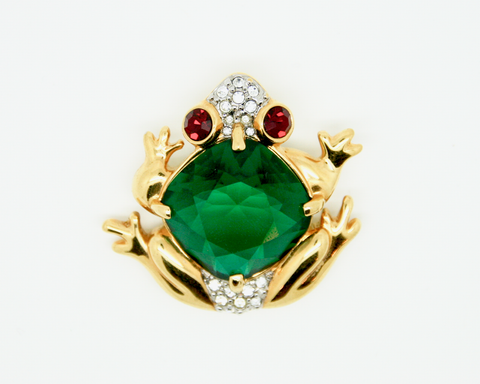 1980-90's SWOROVSKI Green crystal frog brooch