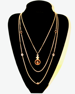 1950's GOLDETTE triple strand gold chain with bezel set smokey topaz crystal and intaglio