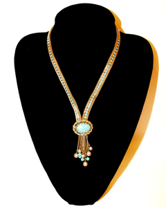 1960's unsigned Hobe gold Mesh and turquois drop necklace