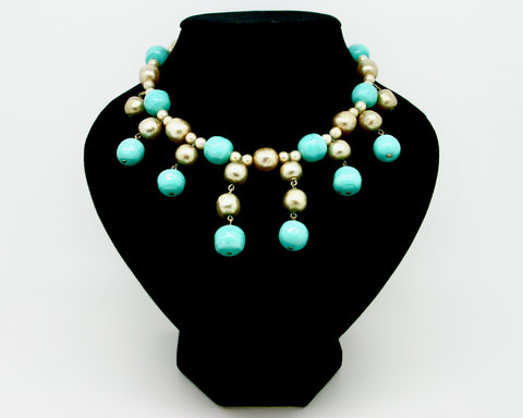 1950's MIRIAM HASKELL turquoise and baroque pearl bib