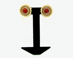 1960s-70's CINER faux carnelian cabochon and gold etruscan earrings