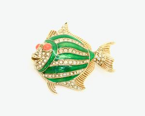 1960's CINER green enamel fish brooch