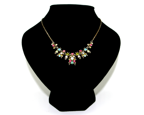 1950 HOLLYCRAFT pastel rhinestone short necklace