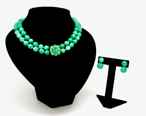 1960-70's PANETTA green peking glass double strand necklace set
