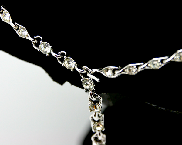 1940's BOGOFF silver and crystal princess necklace