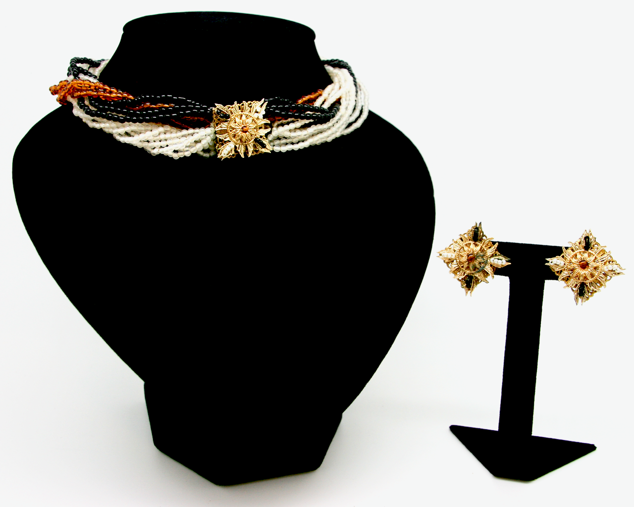 1950's EUGENE ivory, amber and black seed bead torsade set