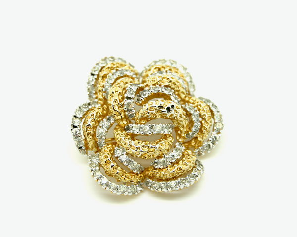 1960-70's PANETTA gold and rhinestone layered brutalist flower brooch/pendant