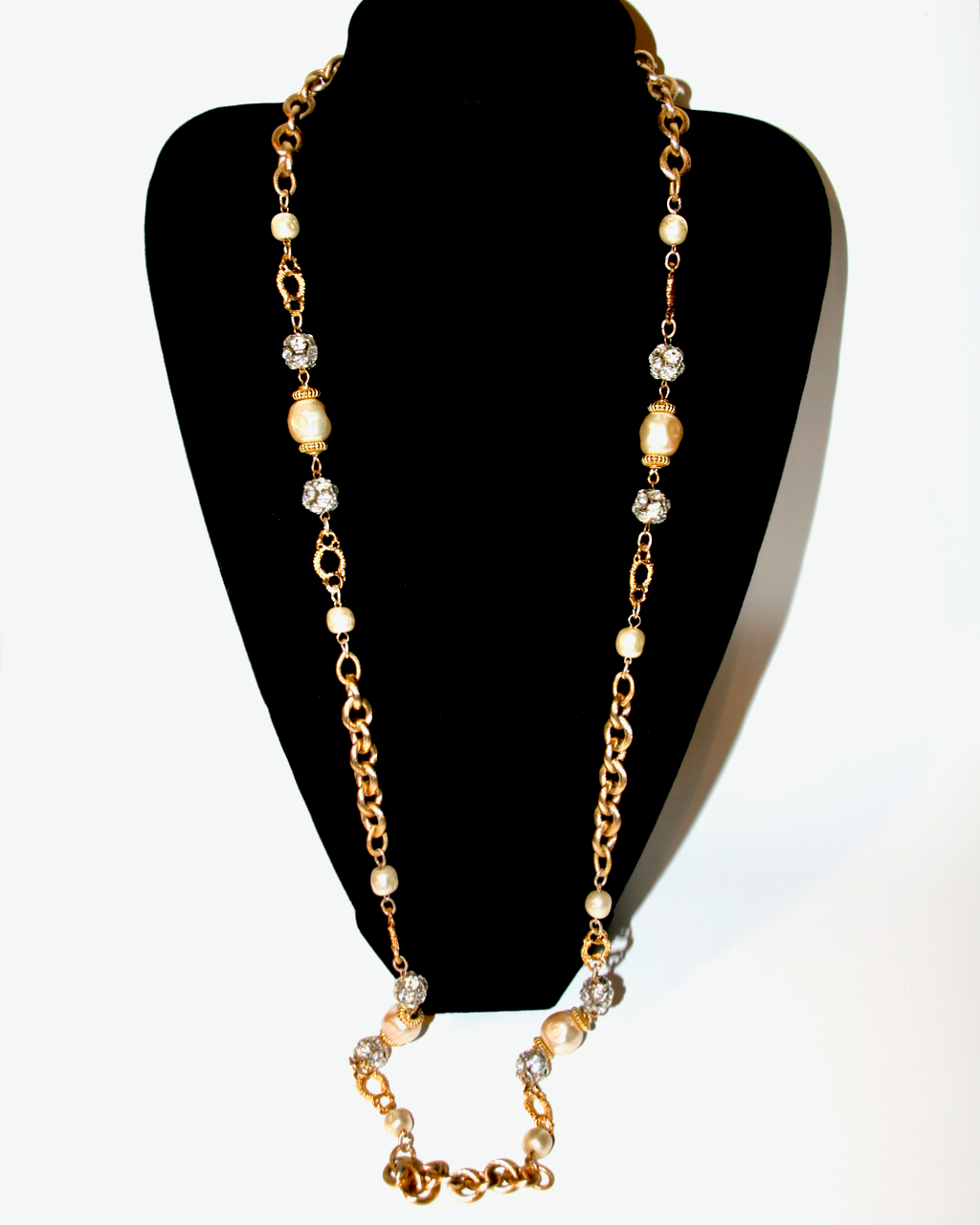 1980-90's LAWRENCE VRBA gold, baroque pearl and rhintestone ball long necklace