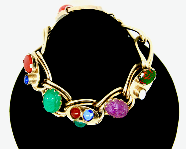 1950's KAFIN NY scarab art glass and semi precious stone link bracelet