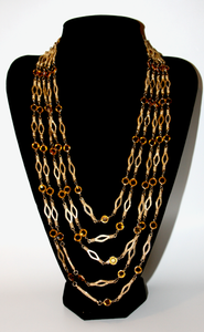 1950's Topaz multi chain swag necklace
