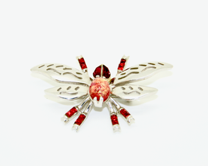 1950's HOLLYCRAFT silver and red crystal butterfly brooch