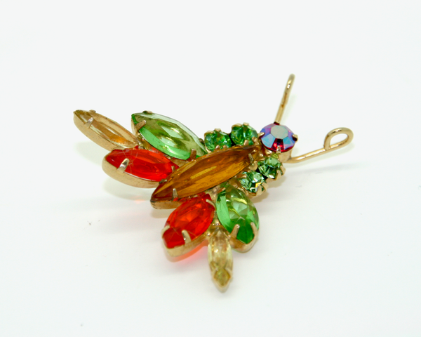 1960's JULIANA green topaz and orange crystal bug brooch