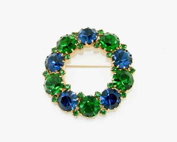 1950's KARU ARKE blue and green crystal rhinestone brooch and earrings SET