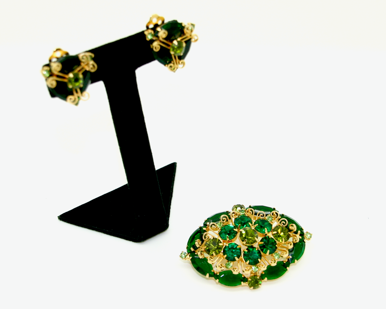 1960's Emerald Green marquis rhinestone SET