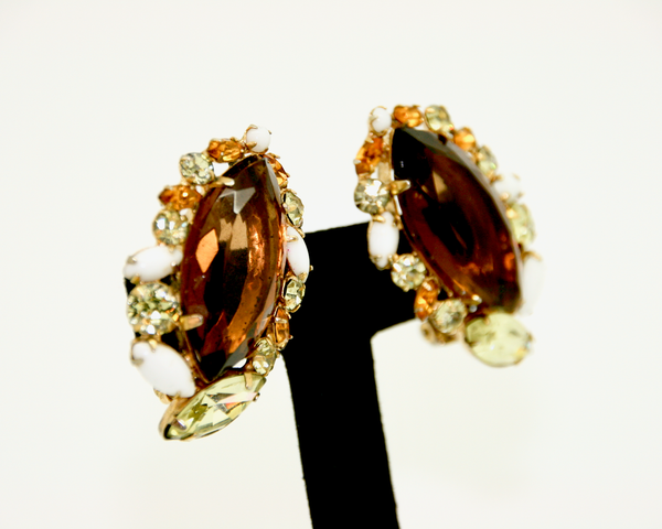 1960's JULIANA large topaz marquis crystal earrings