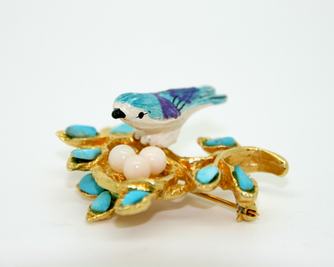 1960's SWOBODA turquois and enamel bird's nest brooch