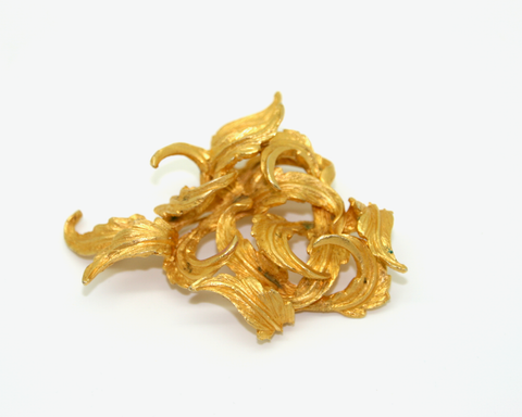 1950-60's HAR gold leaf swirl brooch