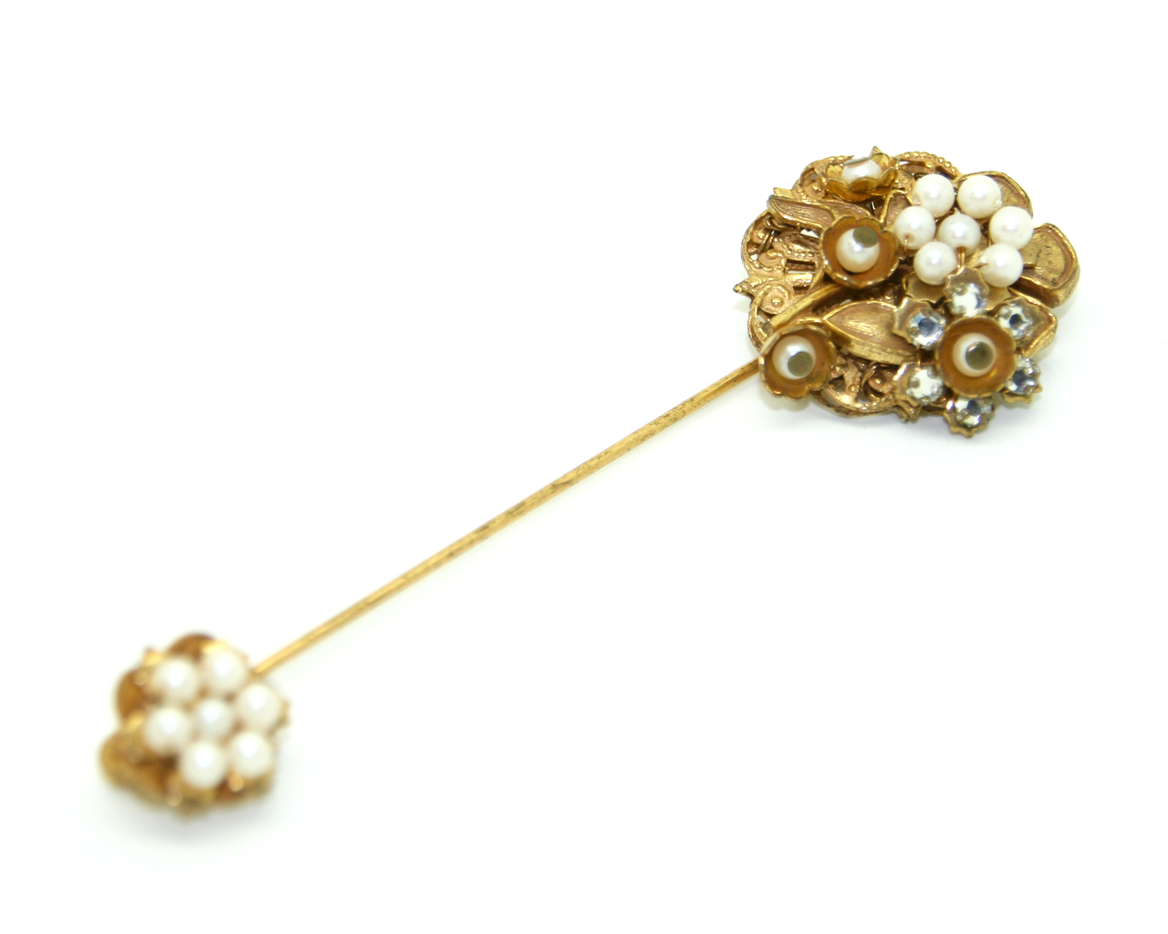 1950's STANLEY HAGLER pearl filligree and rhinestone stick pin
