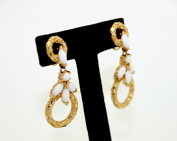 1960-70's PANETTA white milk glass marquis and gold drop earrings