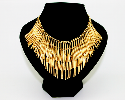 1970's MONET gold chain strung fringe bib necklace