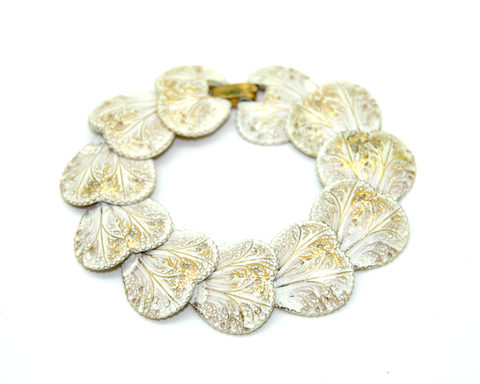 1950's ART white enamel heart shaped leaves bracelet