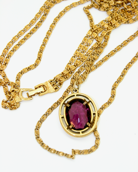 1950's GOLDETTE triple strand chain with amethyst crystal pendant