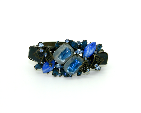 1950's blue moulded and givre glass cuff