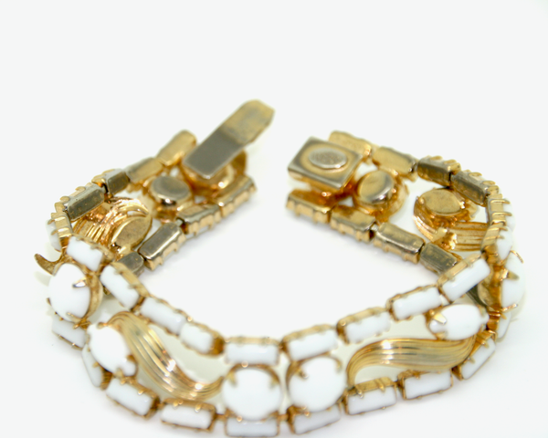1950's WEISS milk glass rhinestone and gold bracelet