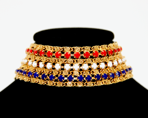 1960's HOBÈ red, white and blue, gold chain bracelet