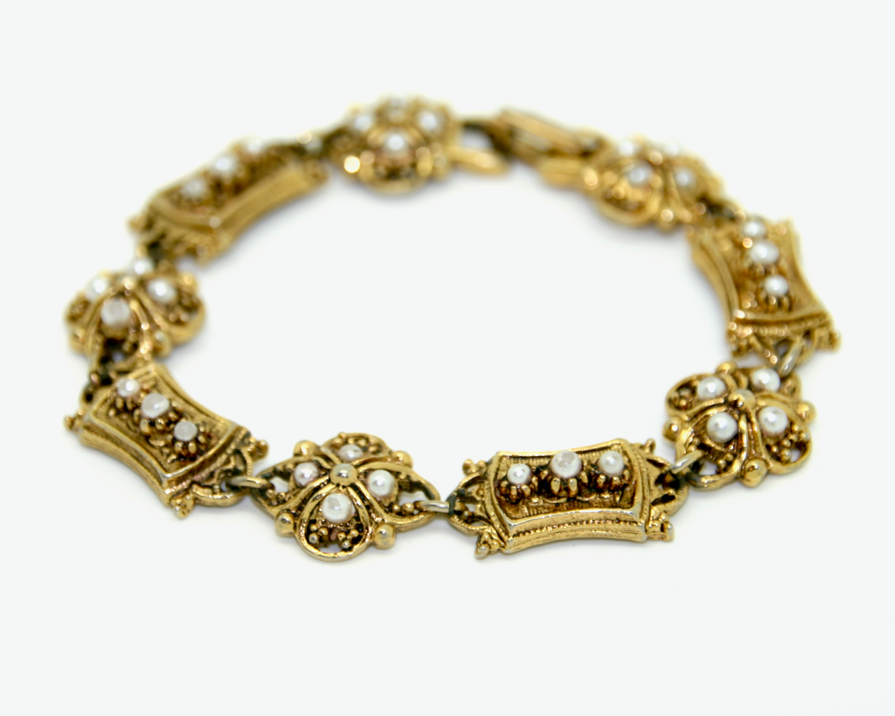 1950's ART victorian revival seed pearl and gold panel bracelet