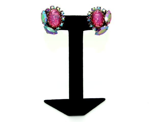 1950's Pink Dragon's Breath cabochon earrings