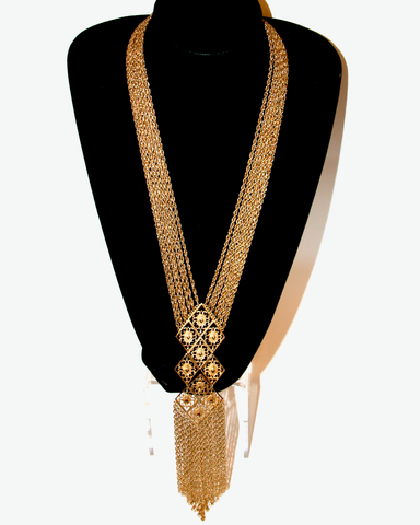1950's GOLDETTE antique gold multi chain long fringe pendant