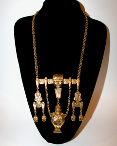 1950's GOLDETTE rare Egyptian revival huge gold urn pendant