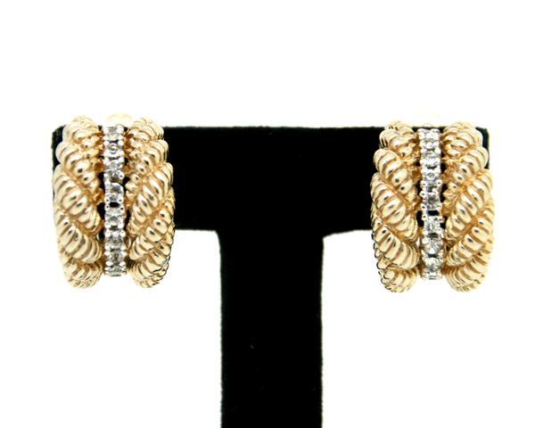 1960's PANETTA rhinestone 1/2 hoop earrings