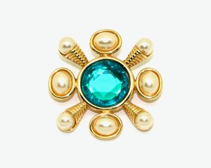 1970's KENNETH JAY LANE green pearl brooch/pendant