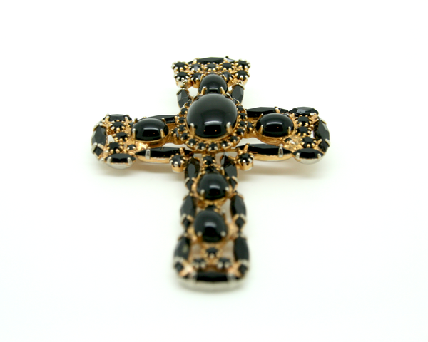 1960's De Lizza & Elster for ALICE CAVINESS black cross pendant/brooch