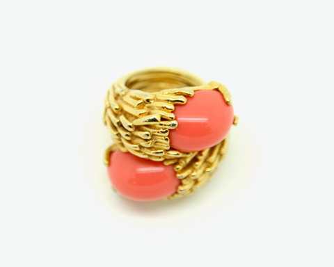 1970's PAULINE RADER double coral cabochon ring