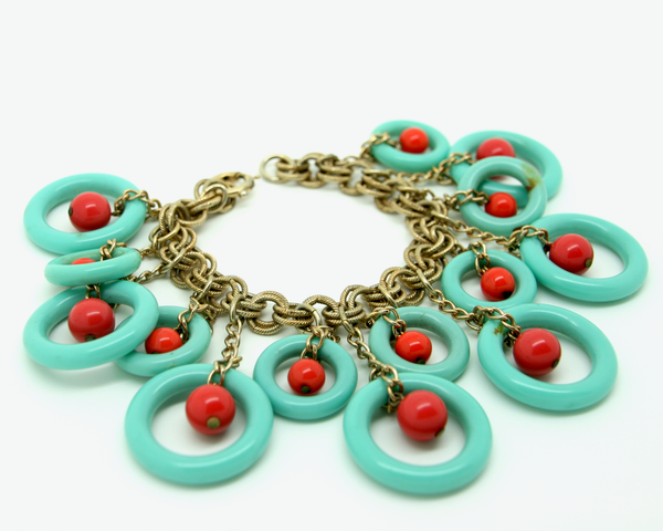 1950's rare NAPIER turquoise and coral lucite dangle charm bracelet