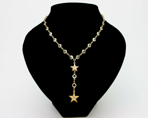 1980's SWAROVSKI star drop bezel necklace