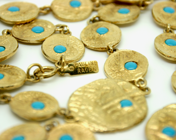 1970's PAULINE RADER turquoise coin long necklace