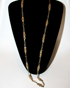 1970's DONALD STANNARD long gold chain necklace