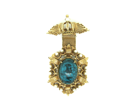 1950's FLORENZA blue cabochon dangle brooch