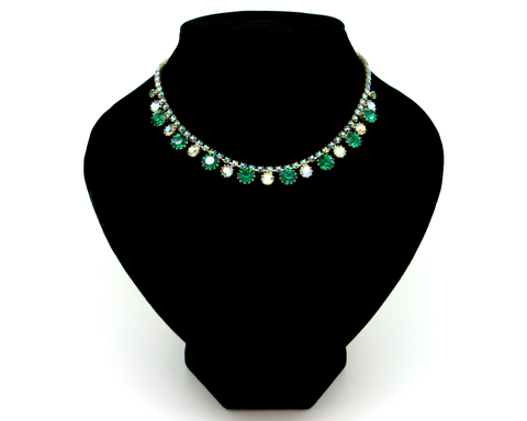 1950's WEISS green & AB rhinestones short necklace