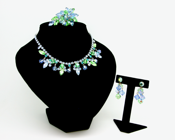 1960's JULIANA green & blue 3 piece bead set
