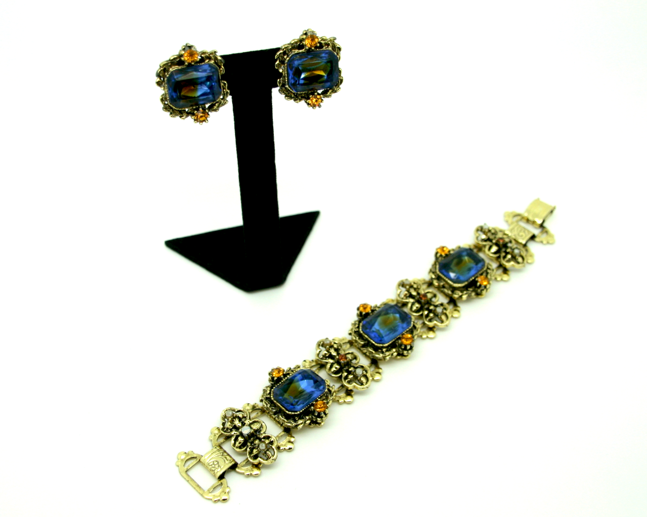 1950's blue & topaz bookchain 2pc set