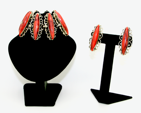 1950's SELRO Coral thermostat navette bracelet and earring set